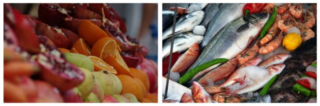 Fish fruits collage